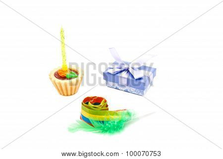 Cake With Yellow Birthday Candle, Whistle And Gift