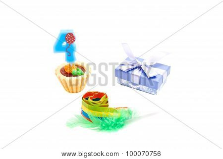 Cake With Four Years Birthday Candle, Whistle And Gift On White