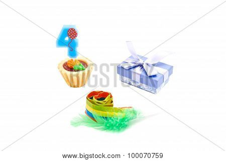 Cake With Four Years Birthday Candle, Whistle And Gift