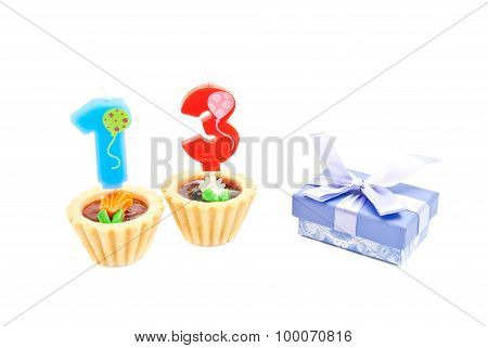 Cakes With Thirteen Years Birthday Candles And Gift