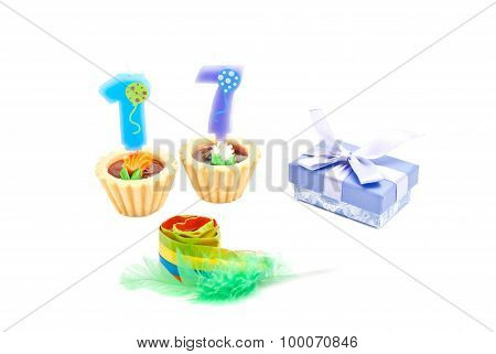 Cakes With Seventeen Years Birthday Candles, Whistle And Gift