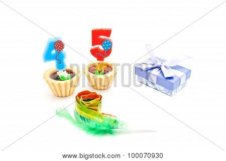 Cakes With Forty Five Years Birthday Candles, Whistle And Gift