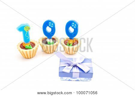 Cakes With One Hundred Years Birthday Candles And Gift