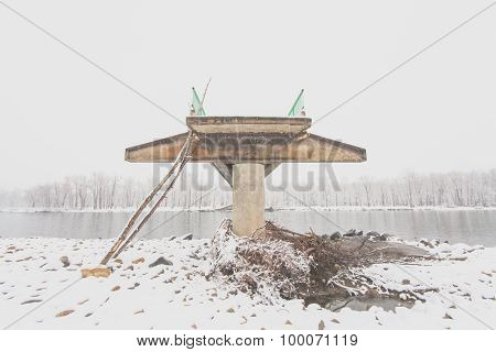 Front View of a Damaged Bridge
