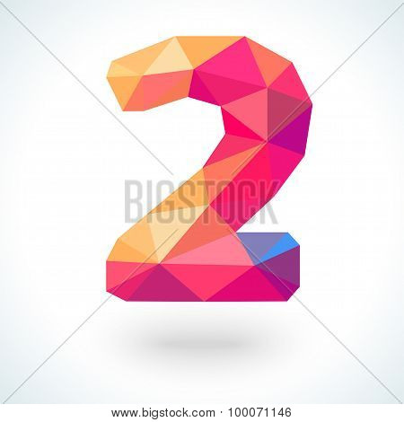 Number two in modern polygonal crystal style.  illustration