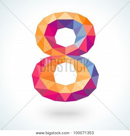 Number eight in modern polygonal crystal style.