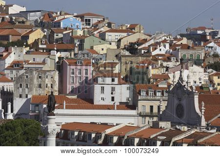 Lisbon Downtown Overview From The Top