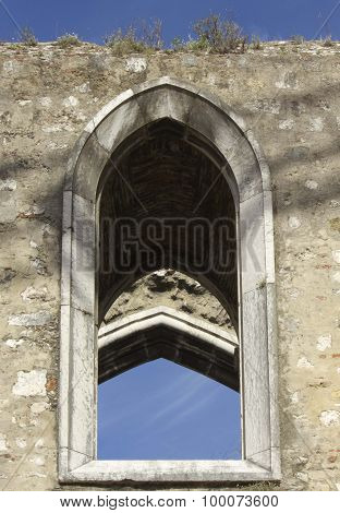 Close Up Detail Of An Arched Window Of The Convento Do Carmo