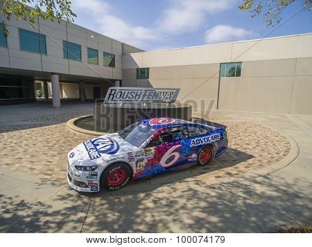 Concord, NC - Aug 27, 2015: The throwback Ford Fusion of Trevor Bayne at the Roush Fenway Racing World Headquarters in Concord, NC.