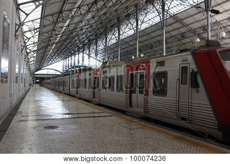 Train Arriving In Rossio Station