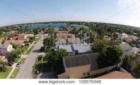 Suburban Homes Seen From Above