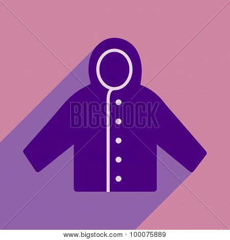 Flat with shadow icon and mobile application raincoat
