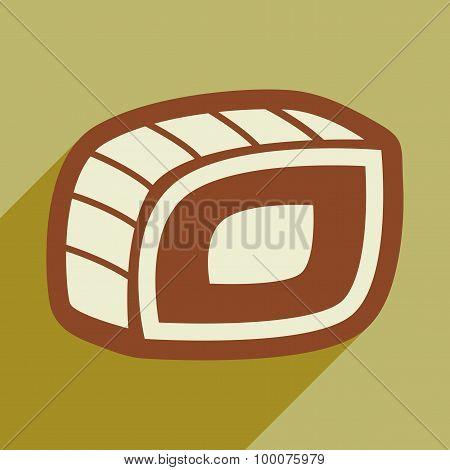 Flat with shadow icon nigiria roll on a stylish background