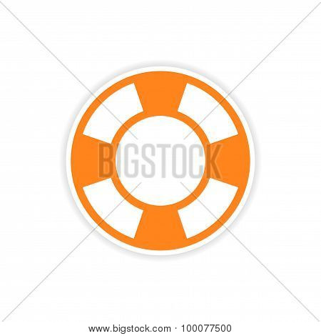 icon sticker realistic design on paper lifebuoys