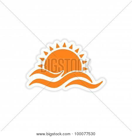icon sticker realistic design on paper sun Sea