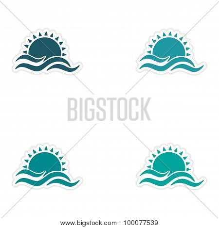 assembly realistic sticker design on paper sun Sea