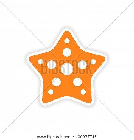 icon sticker realistic design on paper star fish