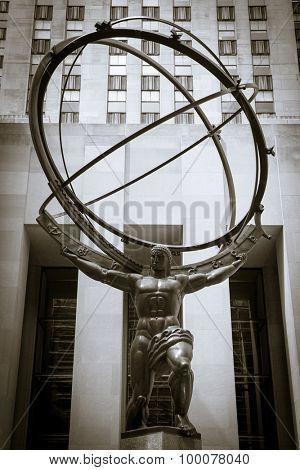 NEW YORK CITY, USA - SEPTEMBER, 2014: Atlas statue in front of Rockefeller Center in New York City