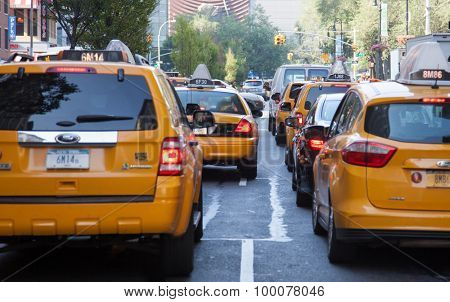 NEW YORK CITY, USA - SEPTEMBER, 2014: Yellow cabs on streets of New York City