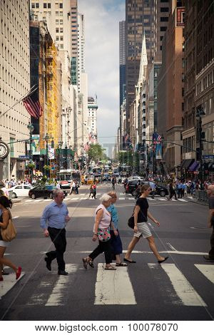 NEW YORK CITY, USA - SEPTEMBER, 2014: People strolling on Fifthe Avenue New York City