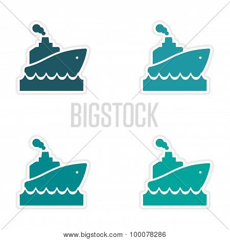 assembly realistic sticker design on paper ship wave