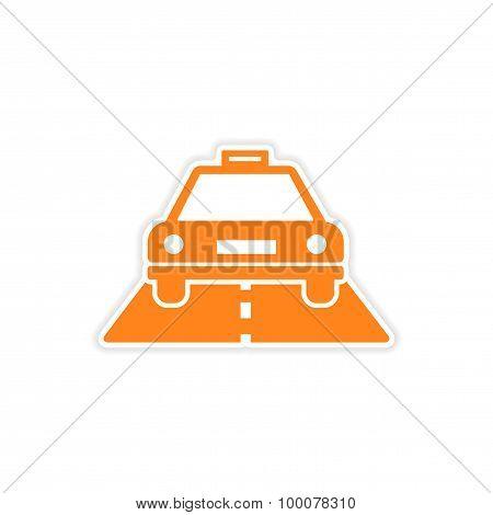 icon sticker realistic design on paper taxi car