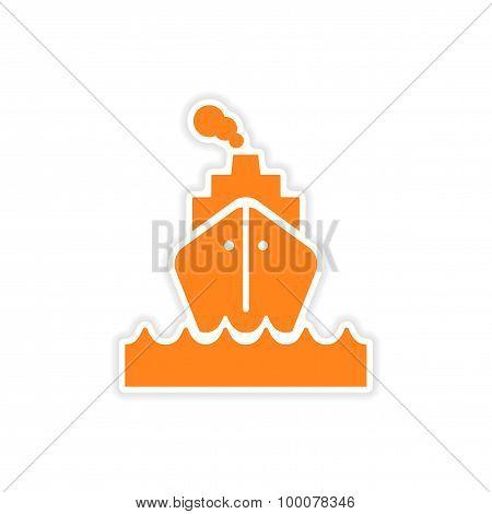 icon sticker realistic design on paper sea ship