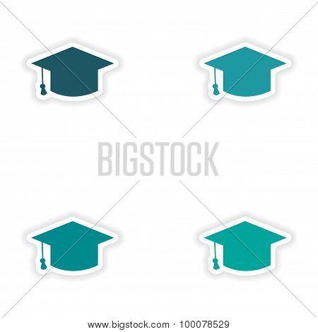assembly realistic sticker design on paper academic cap