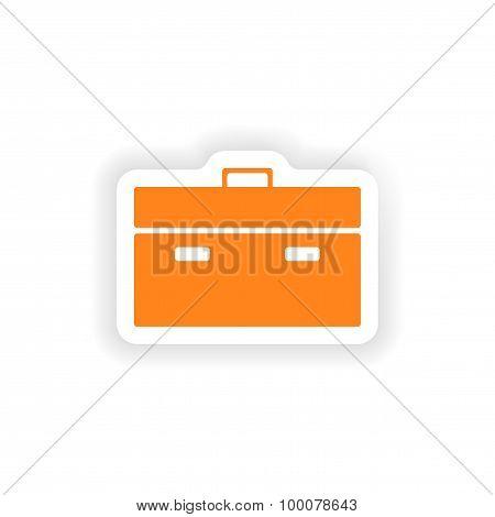 icon sticker realistic design on paper briefcase