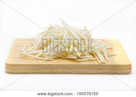 Bean sprouts on wooden board, white background