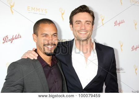 LOS ANGELES - AUG 26:  Bryton James, Daniel Goddard at the Television Academy's Daytime Programming Peer Group Reception at the Montage Hotel on August 26, 2015 in Beverly Hills, CA