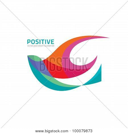 Positive - vector logo abstract illustration. Abstract bird vector logo. Vector logo template.