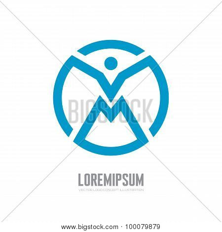 Abstract human character - vector logo concept illustration. People geometric logo. Man logo.