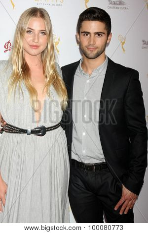 LOS ANGELES - AUG 26:  Veronica Dunne, Max Ehrich at the Television Academy's Daytime Programming Peer Group Reception at the Montage Hotel on August 26, 2015 in Beverly Hills, CA