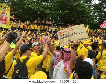 Supporters in yellow shirts demonstrating for Bersih Rally Malaysia