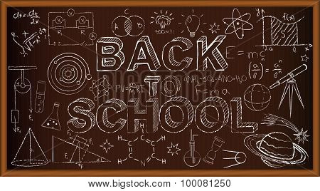 Back to school chalk board. Set of doodles on brown background. Vector Illustration