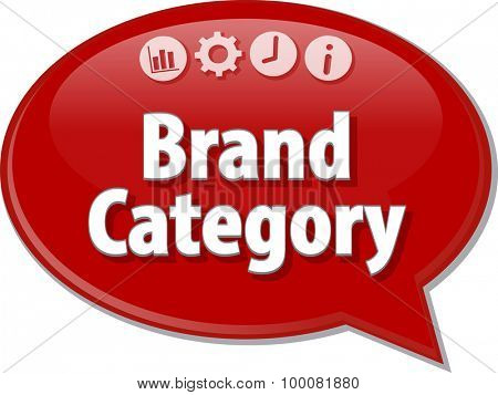 Speech bubble dialog illustration of business term saying Brand Category