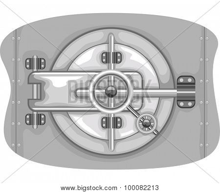 Illustration of a Bank Vault with the Lock Displayed