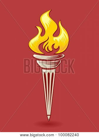 Illustration of an Golden Torch Against a Red Background