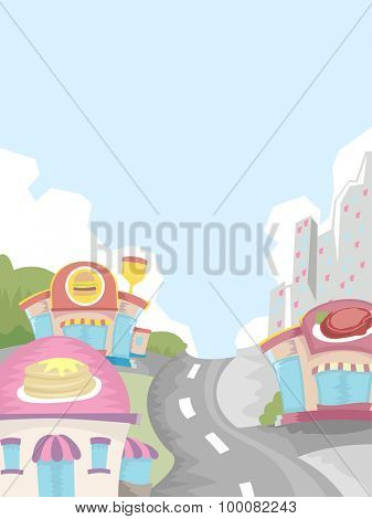Illustration of a City Filled with Restaurants