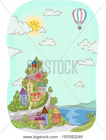 Illustration of Houses Built on Top of a Mountain Near the Sea
