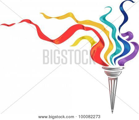 Illustration of a Torch with Colorful Strips of Paper Fluttering on Top