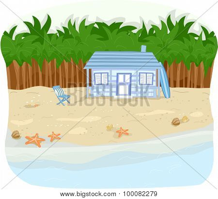 Illustration of a Beachfront Cabin with Rows of Palm Trees Behind