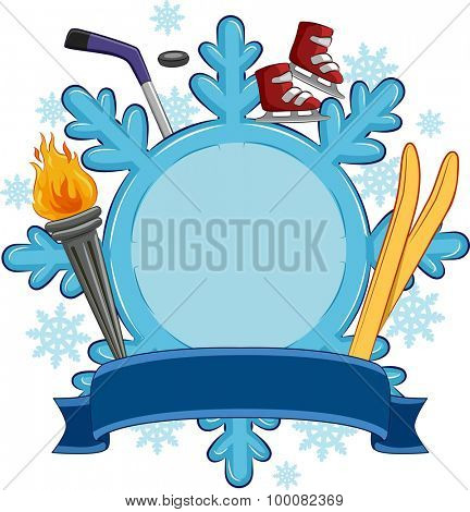 Banner Illustration of Sporting Gear Gathered Around a Giant Snowflake