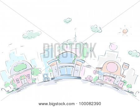 Sketchy Illustration of an Urban Area Filled with Restaurants