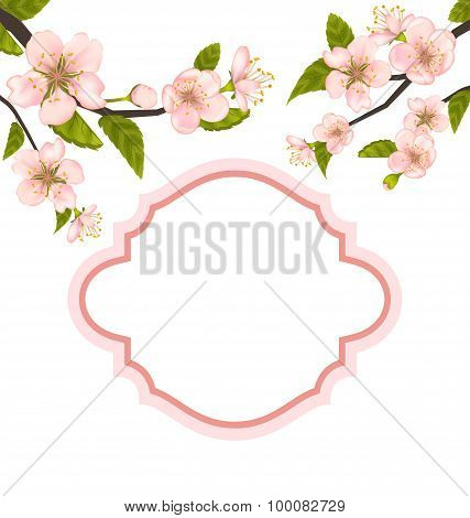 Spring Elegant Card with Blossoming Tree Branches
