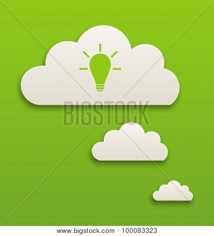 White paper speech bubble with lamp on green background