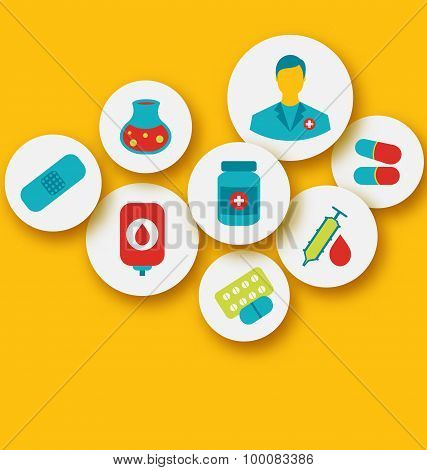 Set colorful medical icons for web design