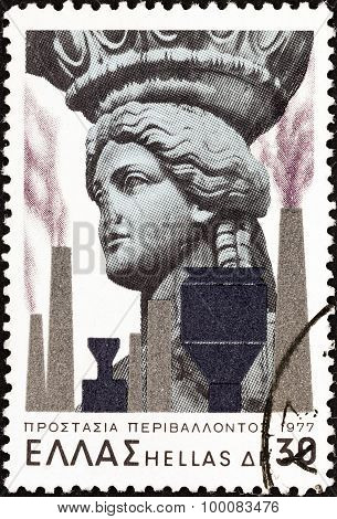 GREECE - CIRCA 1977: A stamp printed in Greece shows Caryatid and Factories