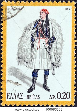 GREECE - CIRCA 1973: A stamp printed in Greece shows a man from Central Greece